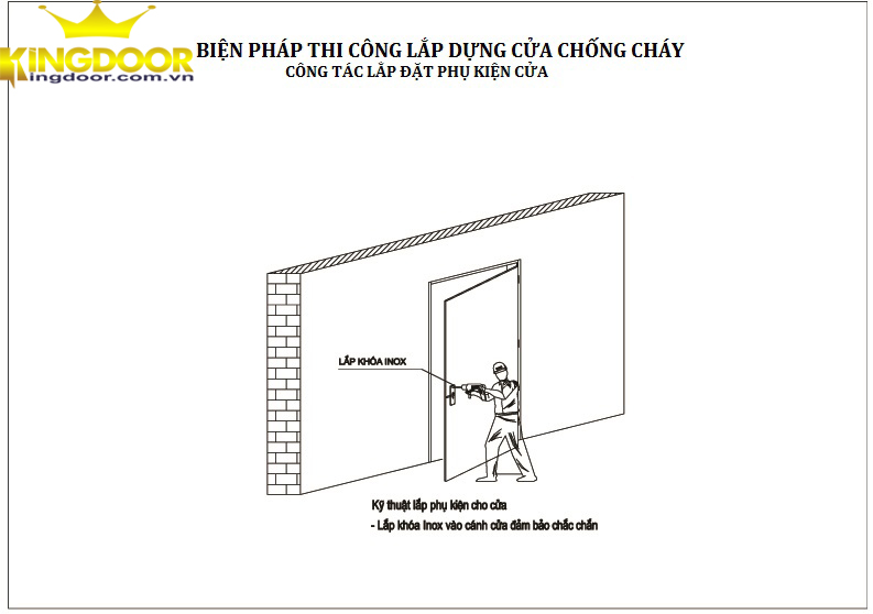 cách lắp phụ kiện cửa thép chống cháy kingdoor