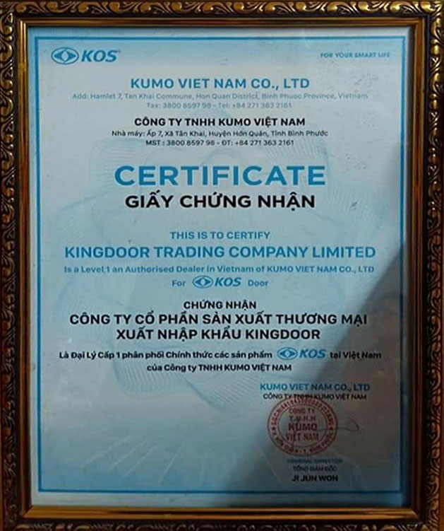 giấy chứng nhận đại lí cửa ABS Hàn Quốc